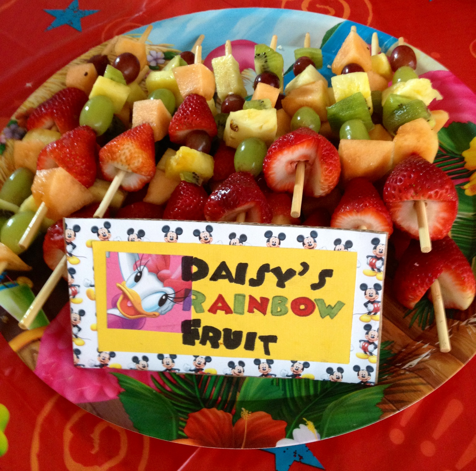 Donalds Cheese And Quackers Daisys Rainbow Fruit Kabobs