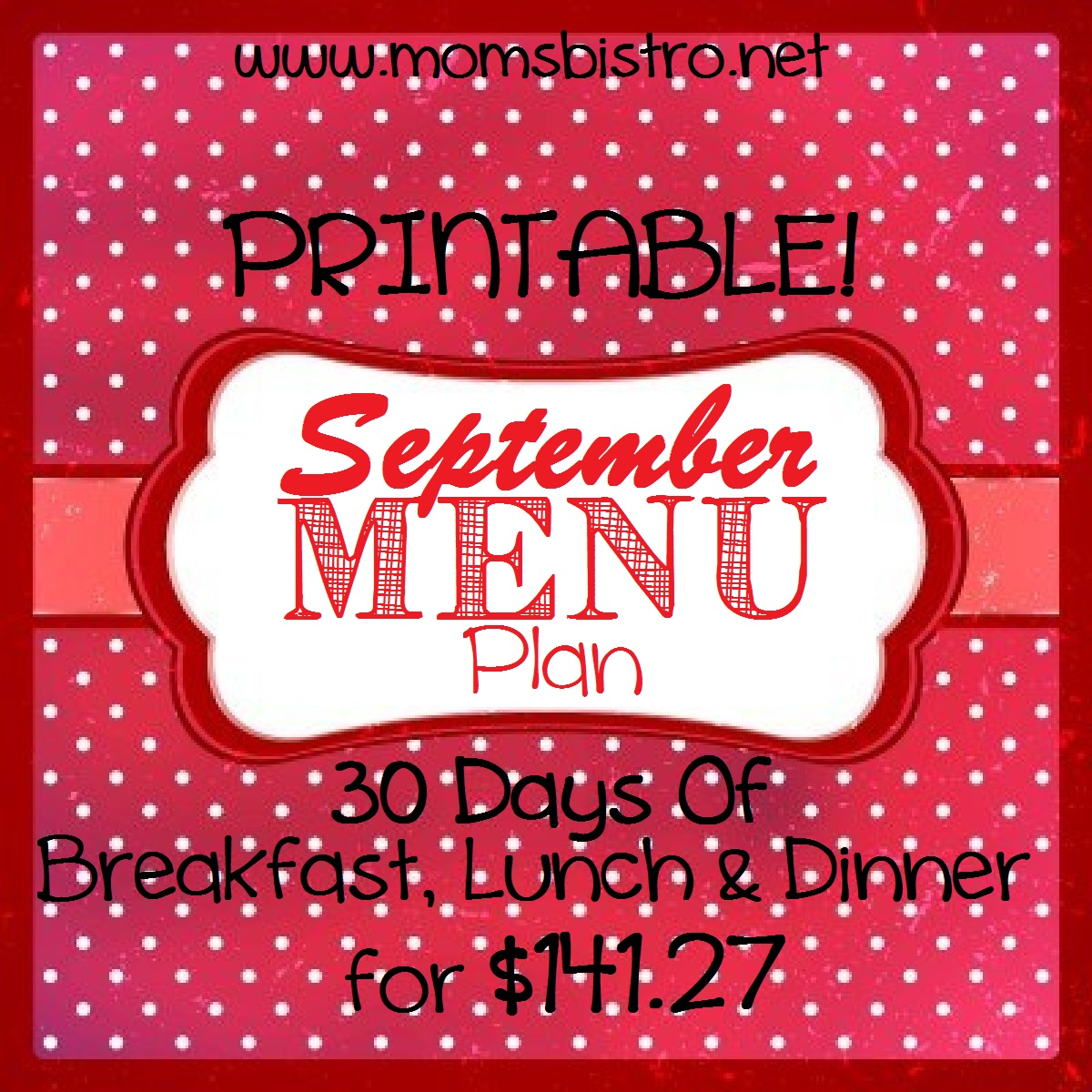 Menu Plan:  Sunday, September 1