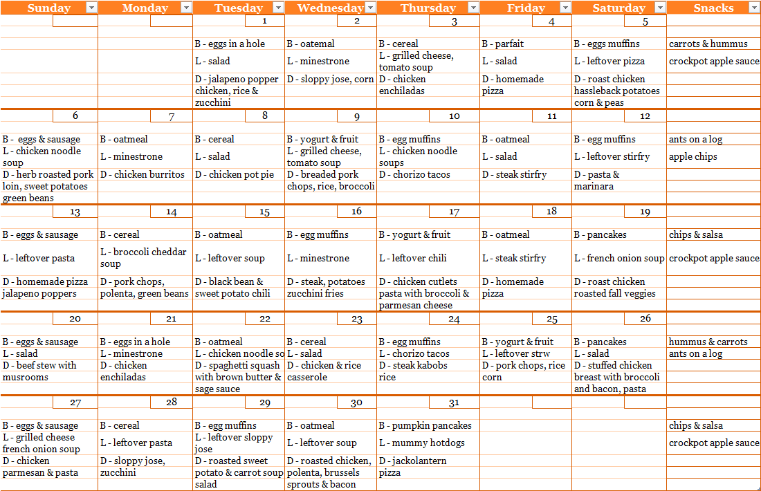 Click to Enlarge - October Menu Plan Calendar
