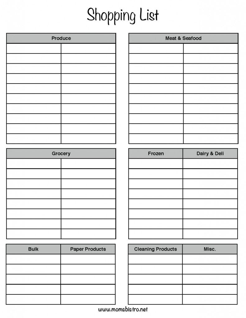 Download Printable Shopping List  Christmas Dinner Shopping List Template