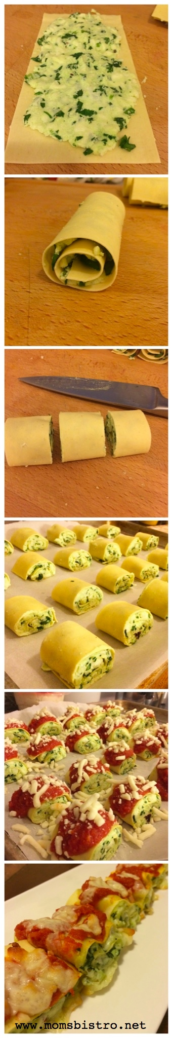 Three-Cheese Spinach Lasagna Rolls by Mom's Bistro