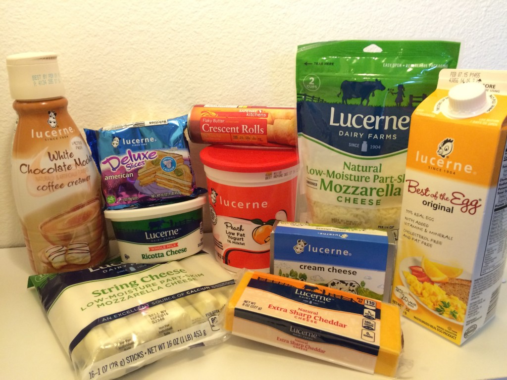 The wide array of Lucerne Dairy products we purchased including; shredded mozzarella cheese, string cheese, cream cheese, eggs, yogurt, cheddar cheese, ricotta cheese, american cheese slices and some delicious white chocolate mocha coffee creamer!