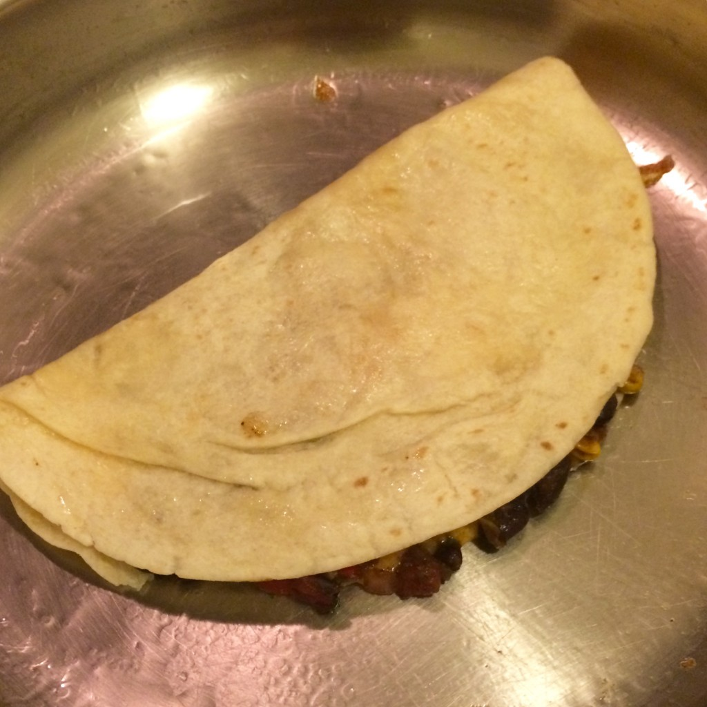 Black Bean and Corn Quesadilla Cooking