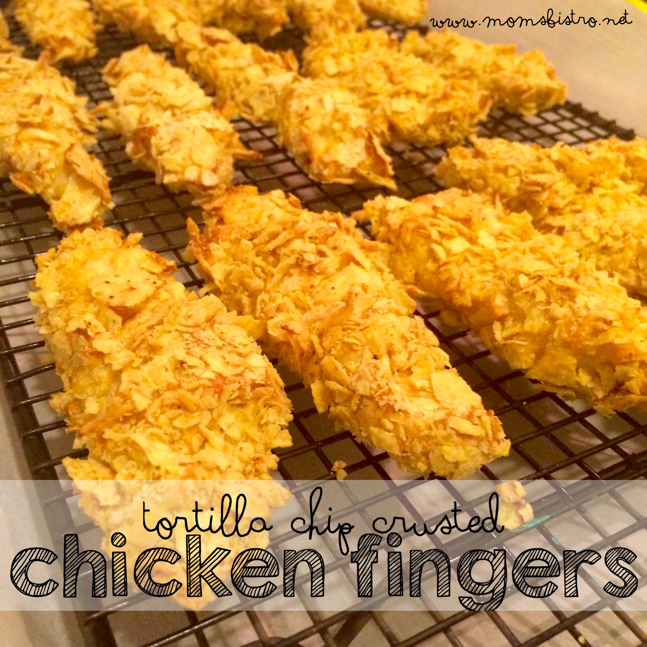 Easy Baked Tortilla Chip Crusted Chicken Fingers