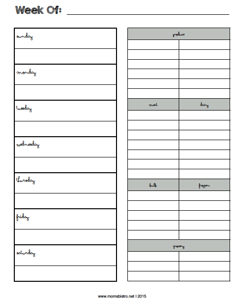 How To Start Meal Planning Printable One Week Meal
