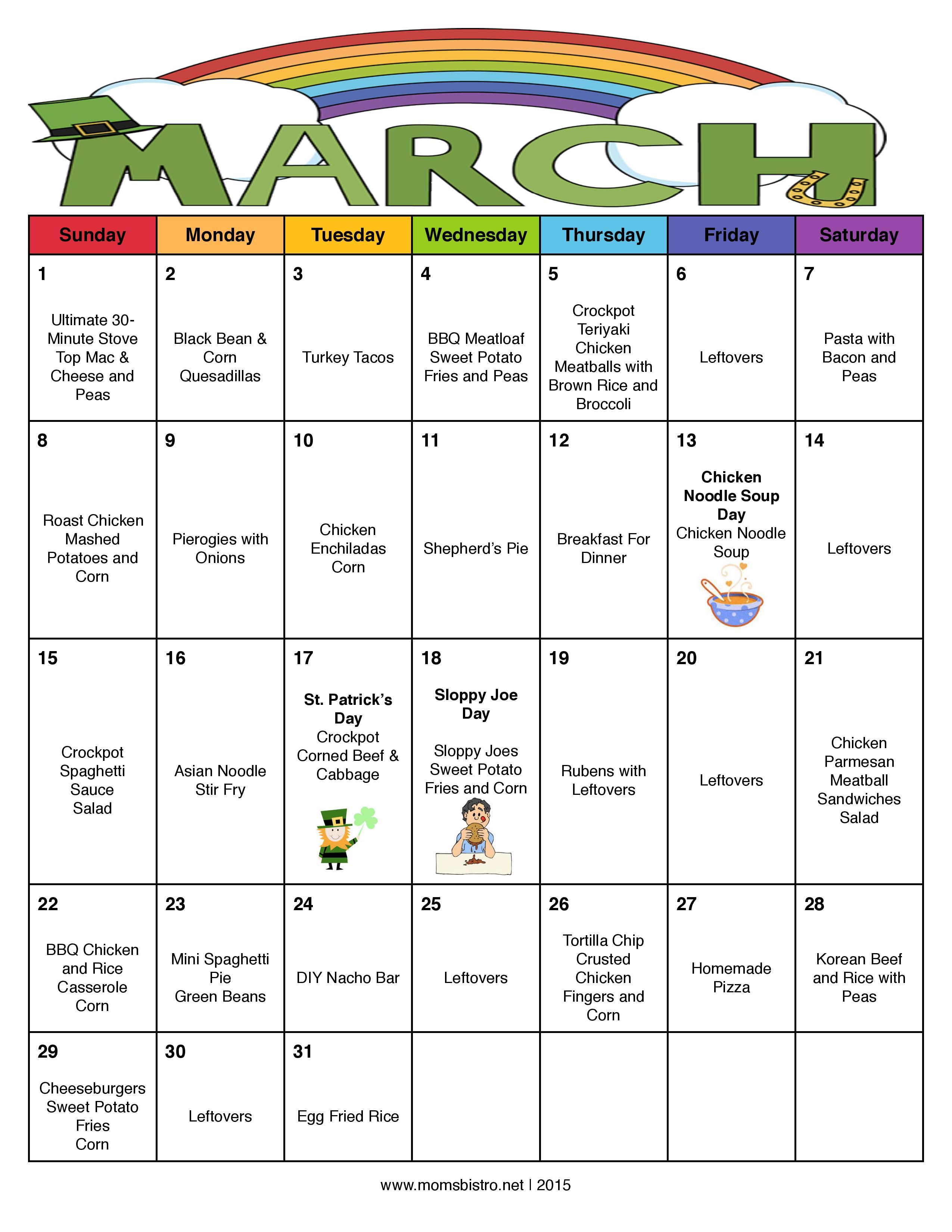 Calendar Ideas For March : Month of meals on a budget march meal plan with