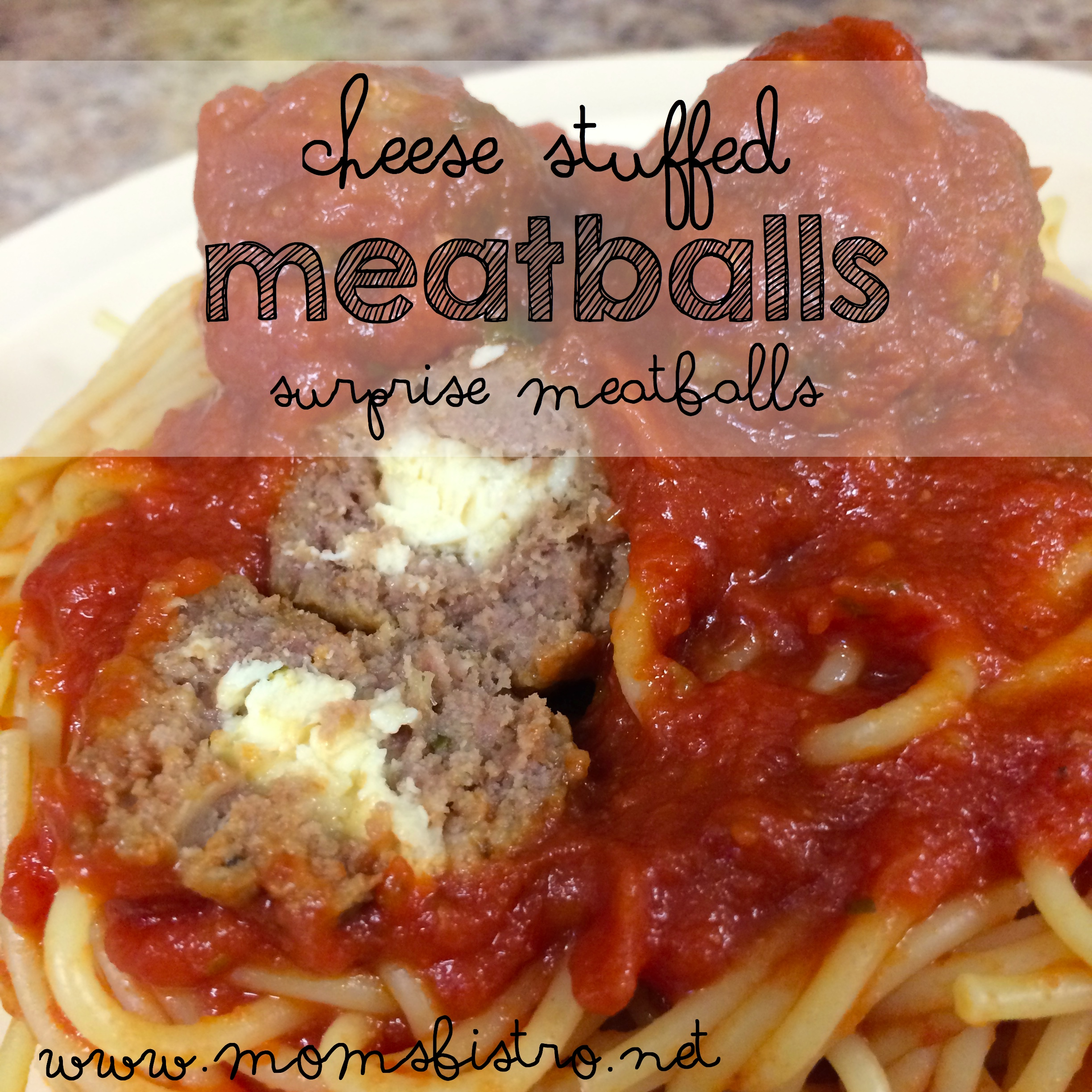 Give Spaghetti and Meatballs A New Twist with Surprise Meatballs!  Easy Kid- Approved Cheese Stuffed Meatballs Recipe
