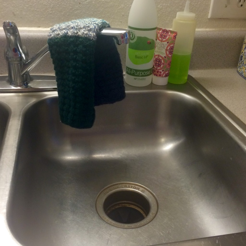 This is my sink (Lindsie) - I like to keep the H2 at my sink for easy clean up after cooking!