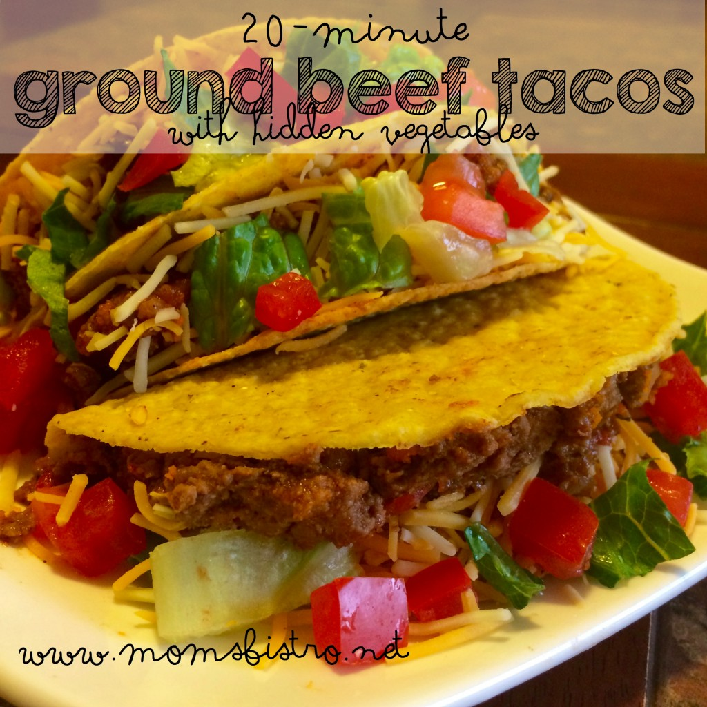 taco night 20 minute ground beef tacos tacos with hidden vegetables week night meal taco tuesday moms bistro
