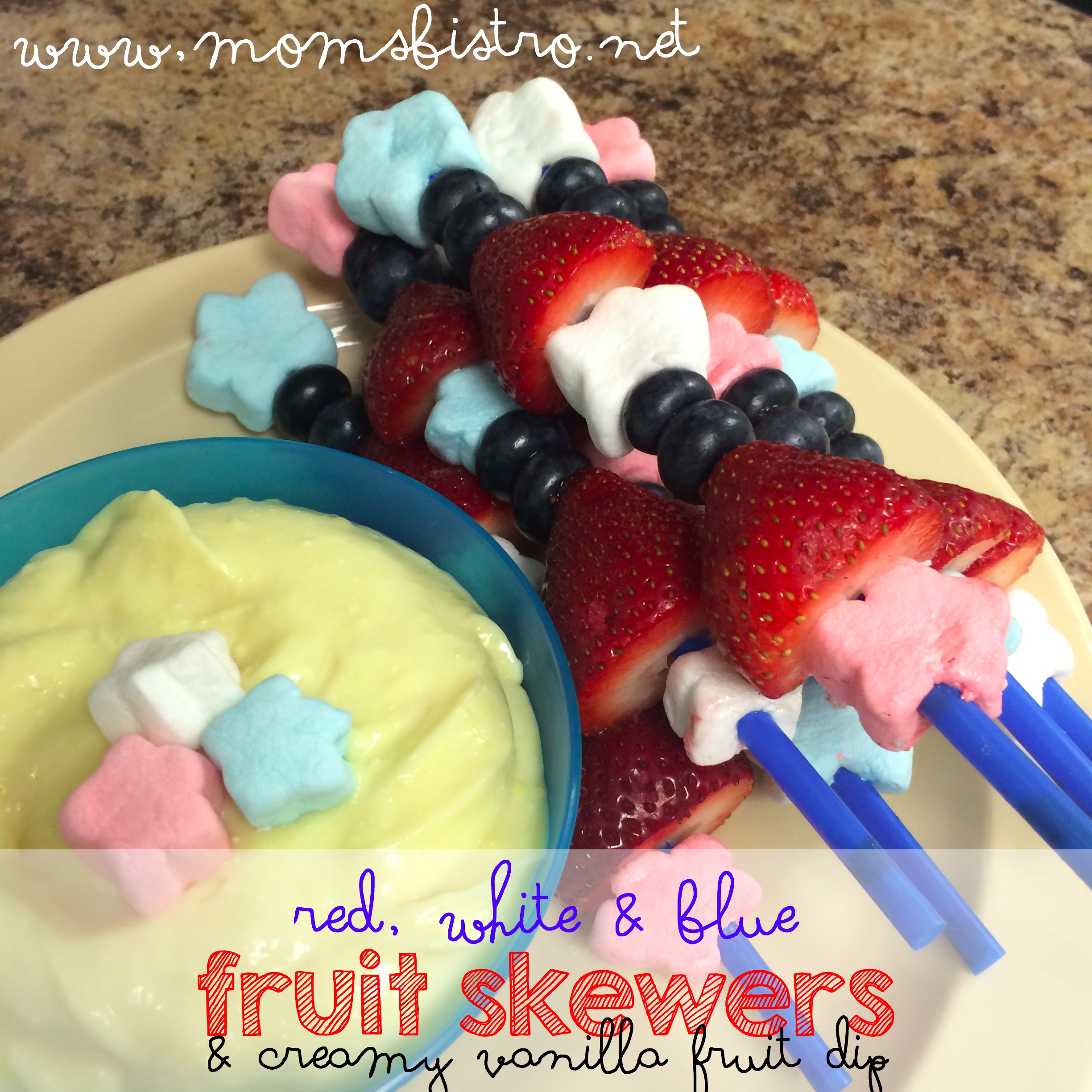 4th Of July Red, White, and Blue Fruit Skewers with Creamy Homemade Vanilla Fruit Dip Recipe | Easy Kid-Friendly 4th Of July Recipe Ideas