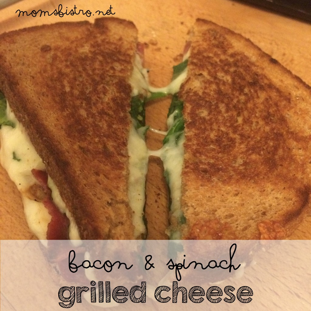 bacon and spinach grilled cheese recipe easy grilled cheese moms bistro