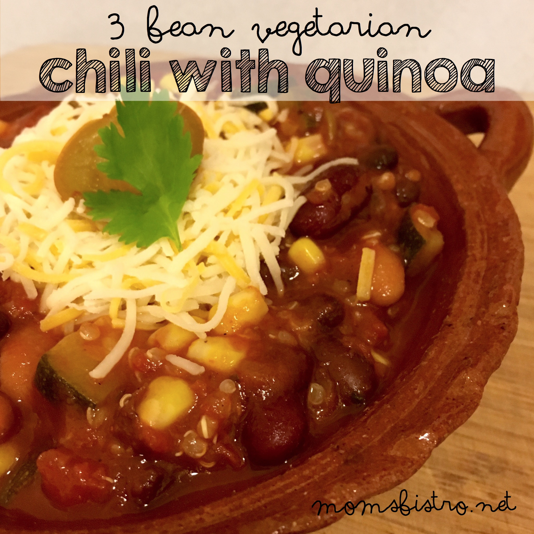 Meatless Monday's Never Tasted So Good!  Easy Kid-Friendly 3 Bean Vegetarian Chili Recipe with Quinoa