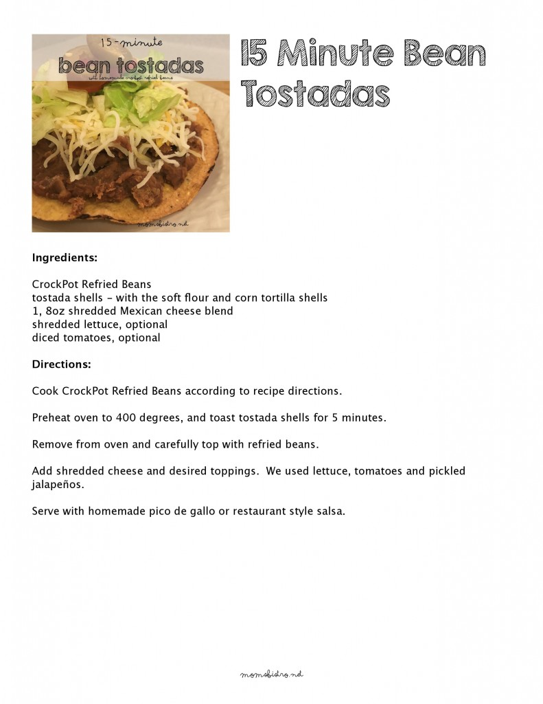 15 minute dinner bean refried beans tostada taco recipe moms bistro week night dinner easy leftover
