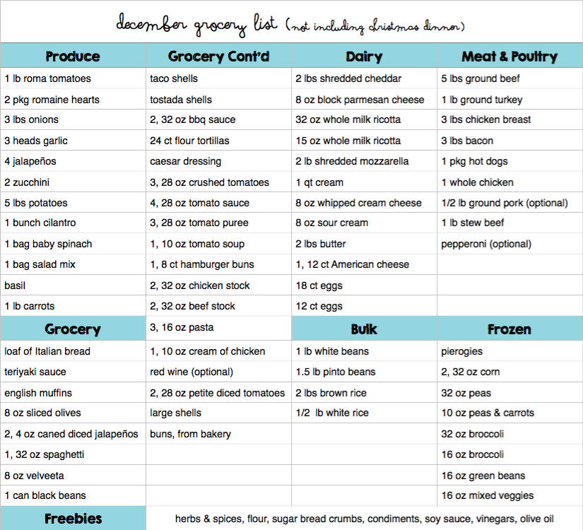 December Menu Plan Grocery List Budget Save Money Christmas Whats For Dinner Kid Friendly Recipe