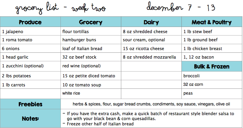 december menu plan grocery list budget save money christmas plan whats for dinner kid friendly recipe