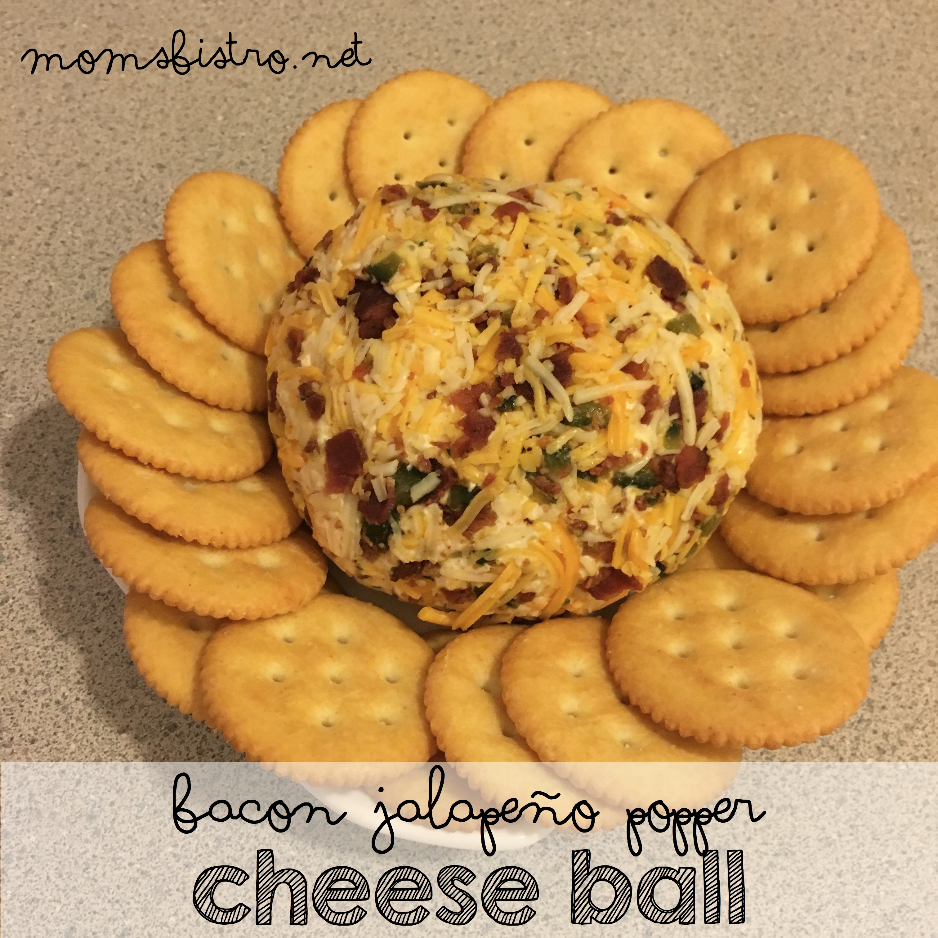 Bacon Lovers Rejoice!  This Easy 6-Ingredient Bacon Jalapeño Popper Cheeseball Is Sure To Be a Hit At This Years Holiday Party!