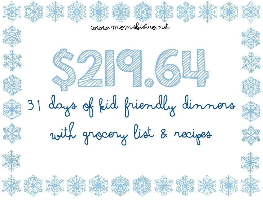A Meal Plan To Save You Money On Groceries In The New Year!  31 Days of Dinners for $220 with FREE Printable Grocery List and Recipes | January 2016 Meal Plan