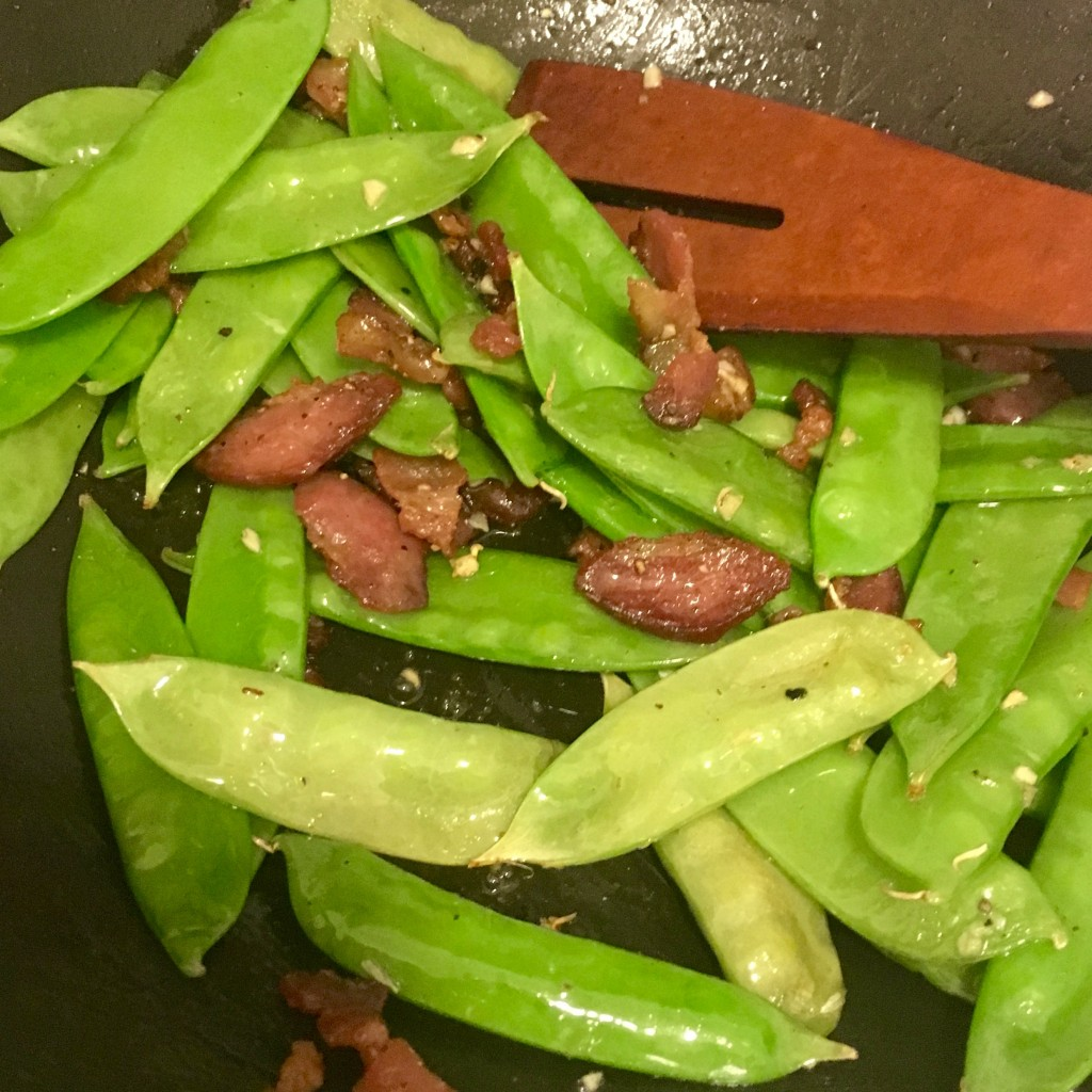 snow peas with bacon