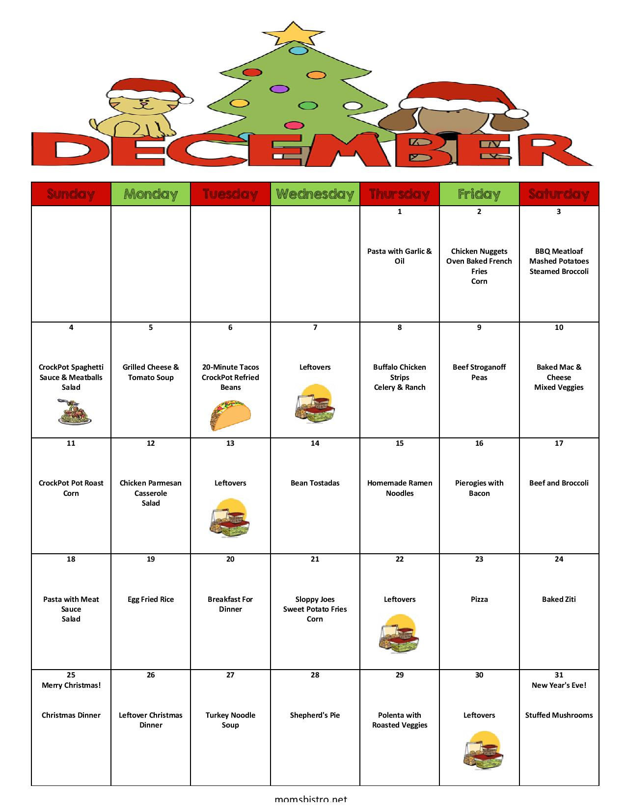 December 2016 Menu Plan | A Month of Meals Including Christmas Dinner for $257
