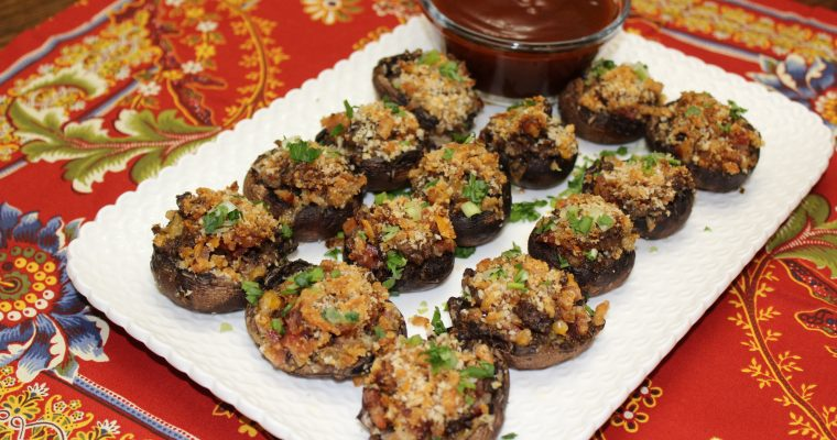 12 Days of Christmas – Day 2: Christmas Party Appetizers – BBQ Bacon Cheeseburger Stuffed Mushrooms Recipe