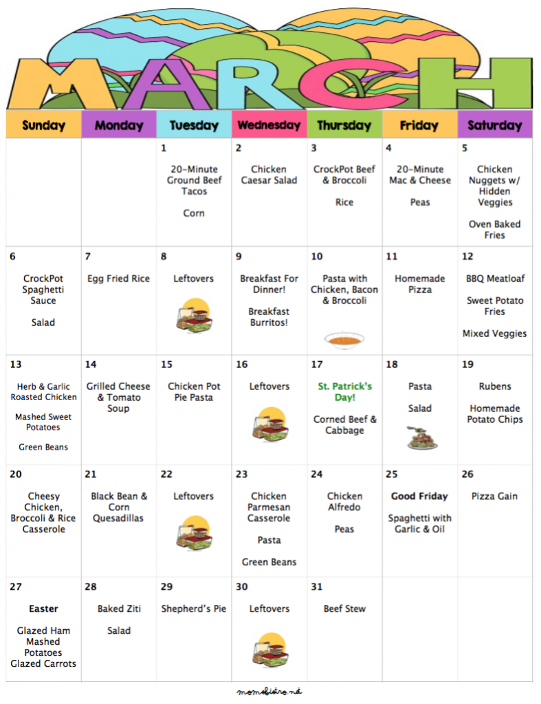 march 2016 menu plan