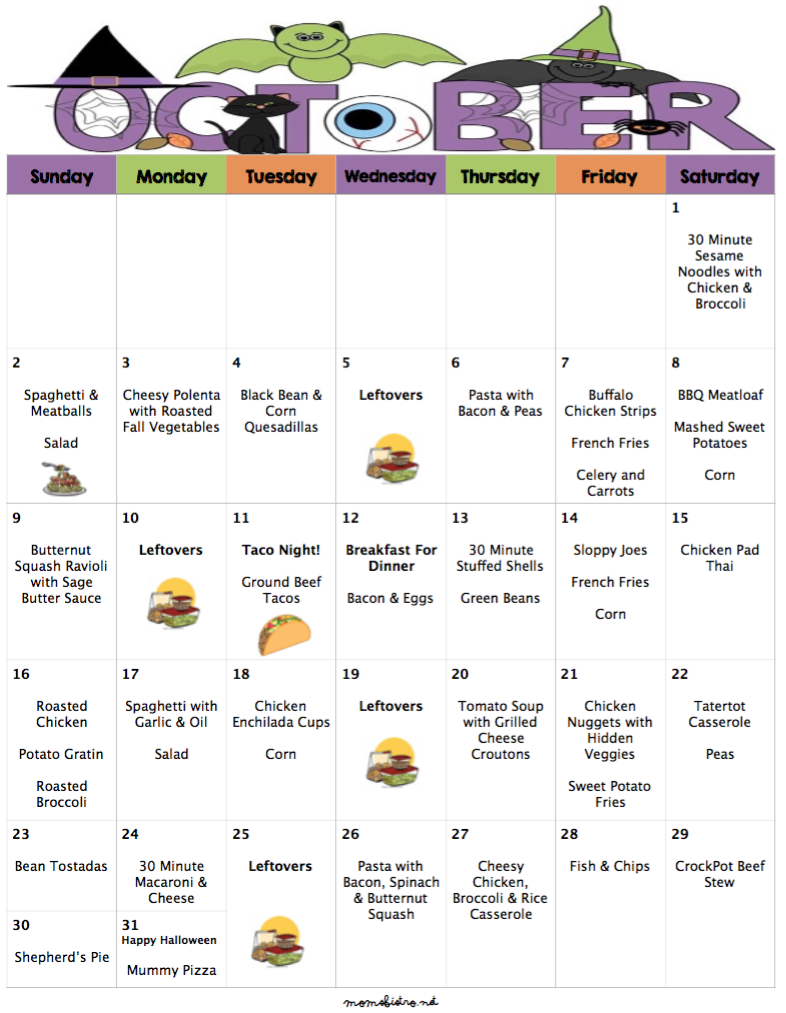 October 2016 Budget Menu Plan – 31 Days of Dinners for $247 with Grocery List
