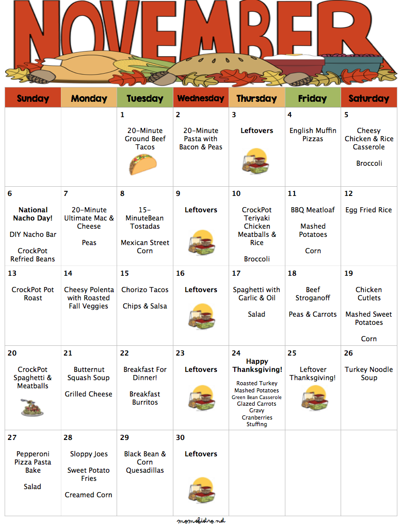 November 2016 Budget Menu Plan with Thanksgiving Menu and Grocery List