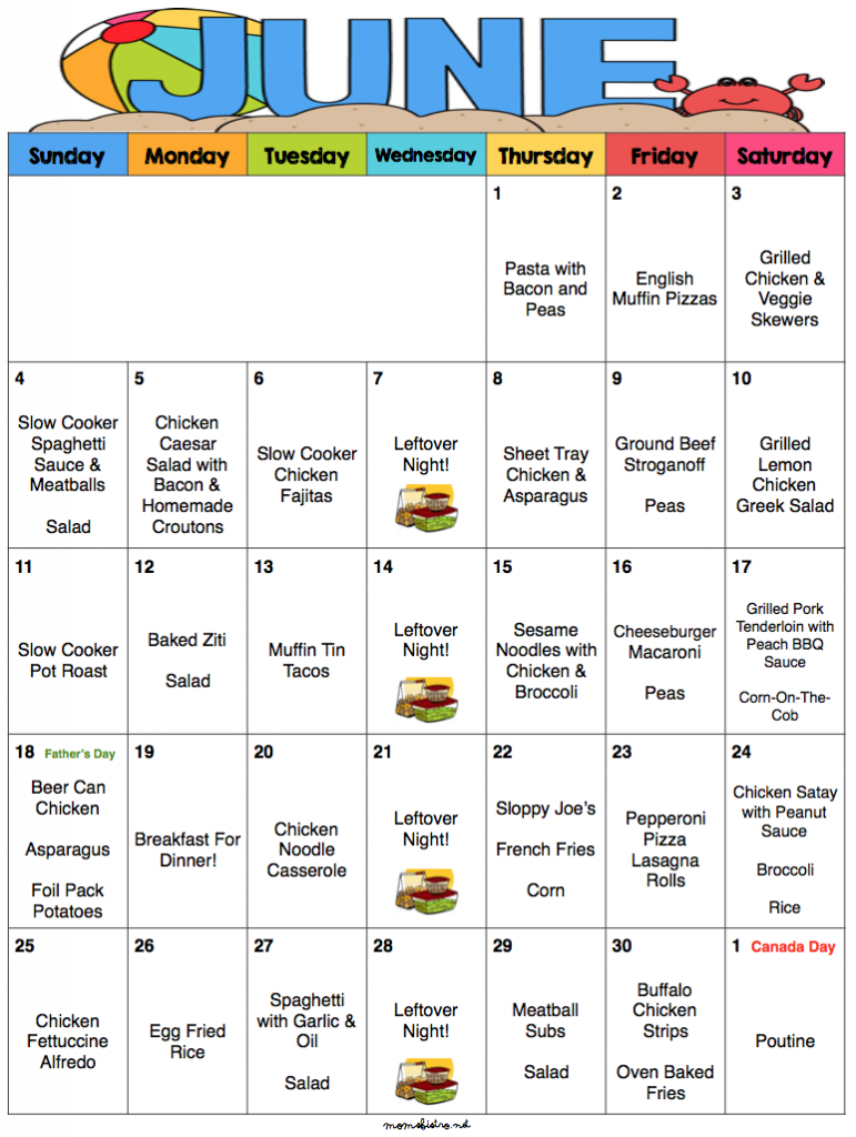june 2017 budget meal plan with printable grocery list and recipes