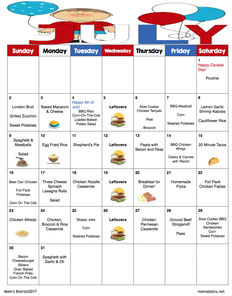 july 2017 menu plan 31 days of dinners for 245 with free