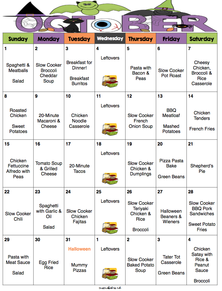 october 2017 menu plan grocery list a month of meals on a budget