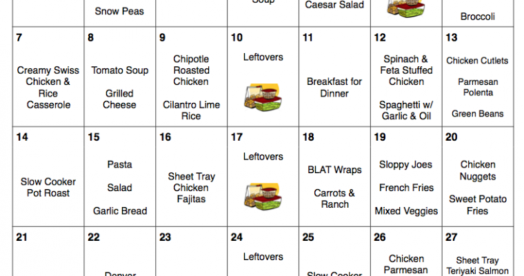 January 2018 – Free Monthly Meal Plan – Quick and Easy Kid-Friendly Recipes with Printable Grocery List