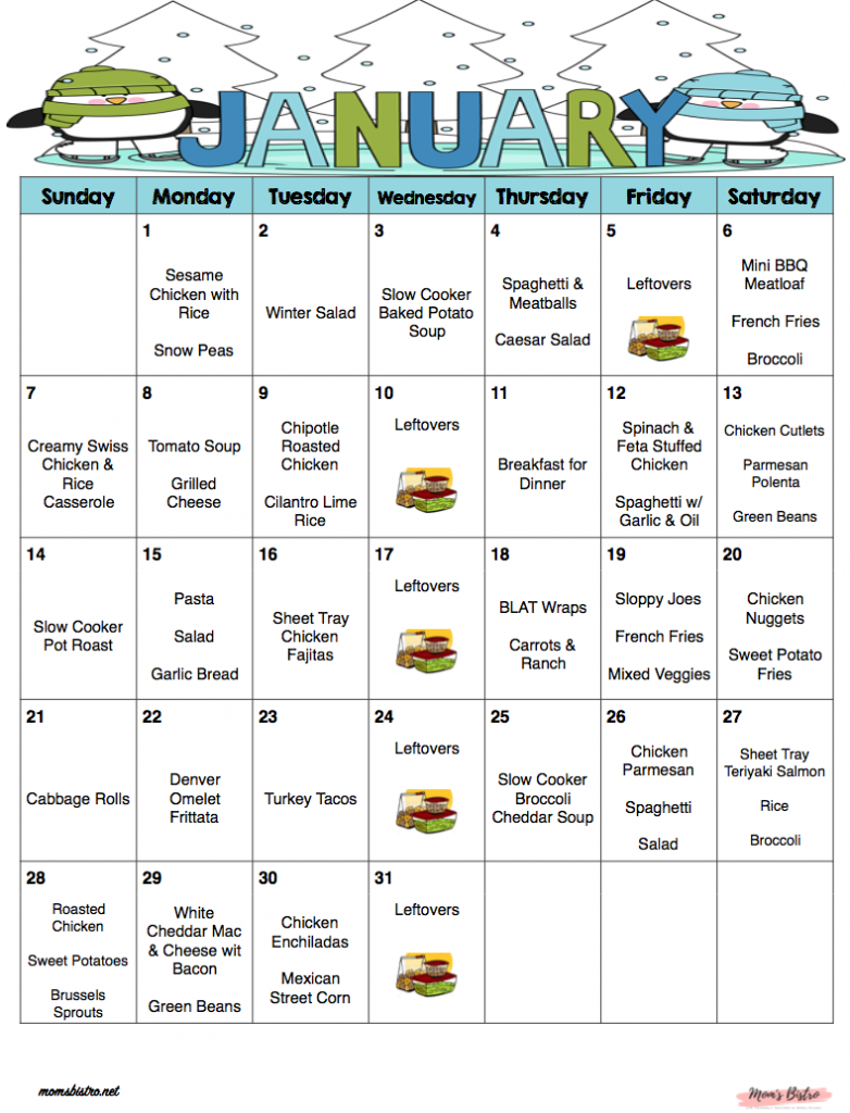 January 2018 Free Monthly Meal Plan Quick And Easy Kid Friendly