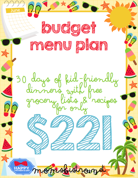 Jump For Joy with June's Menu Plan!  30 Days of Kid-Friendly Dinners for $221!