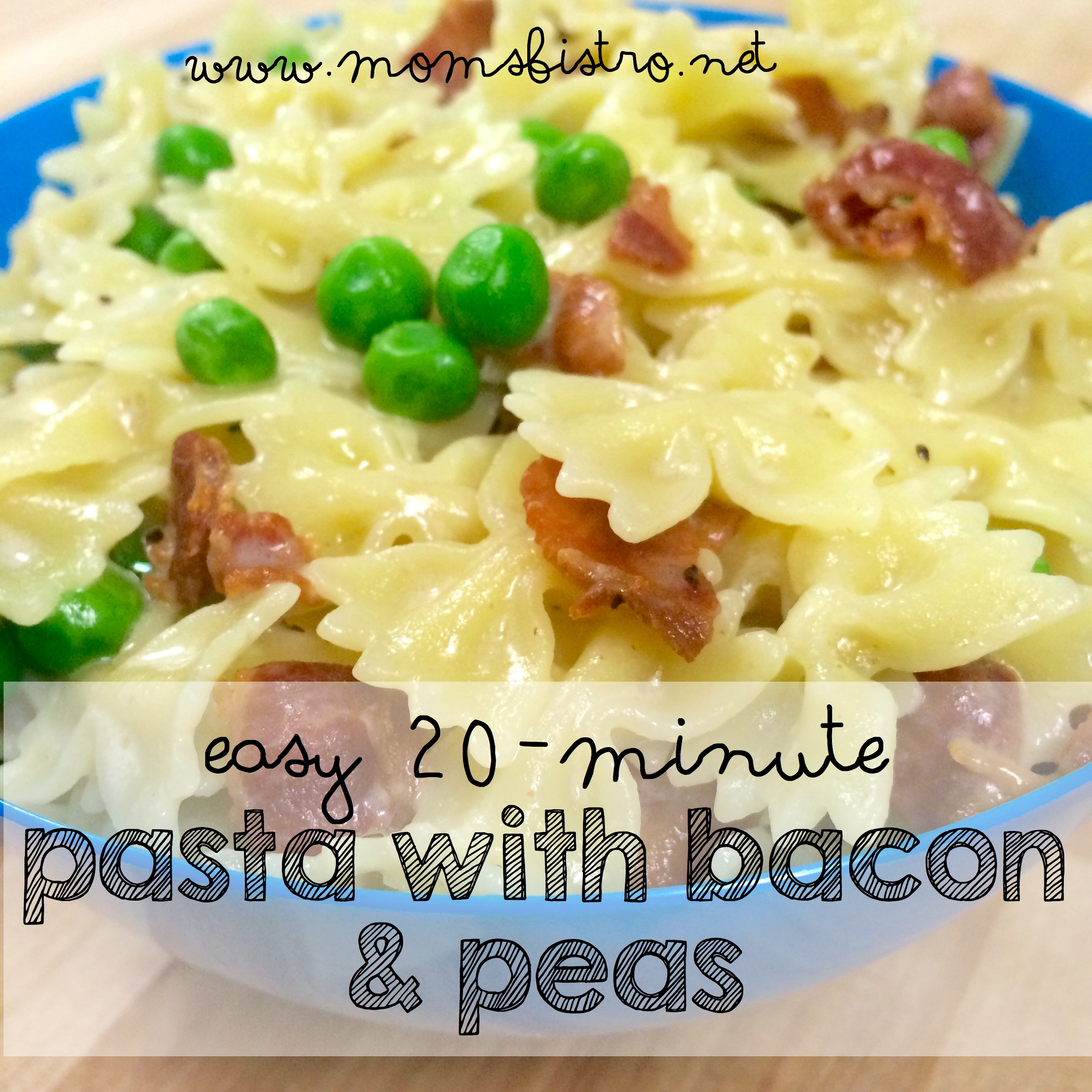 20 Minute Dinner Idea – Easy Pasta with Bacon and Peas Recipe