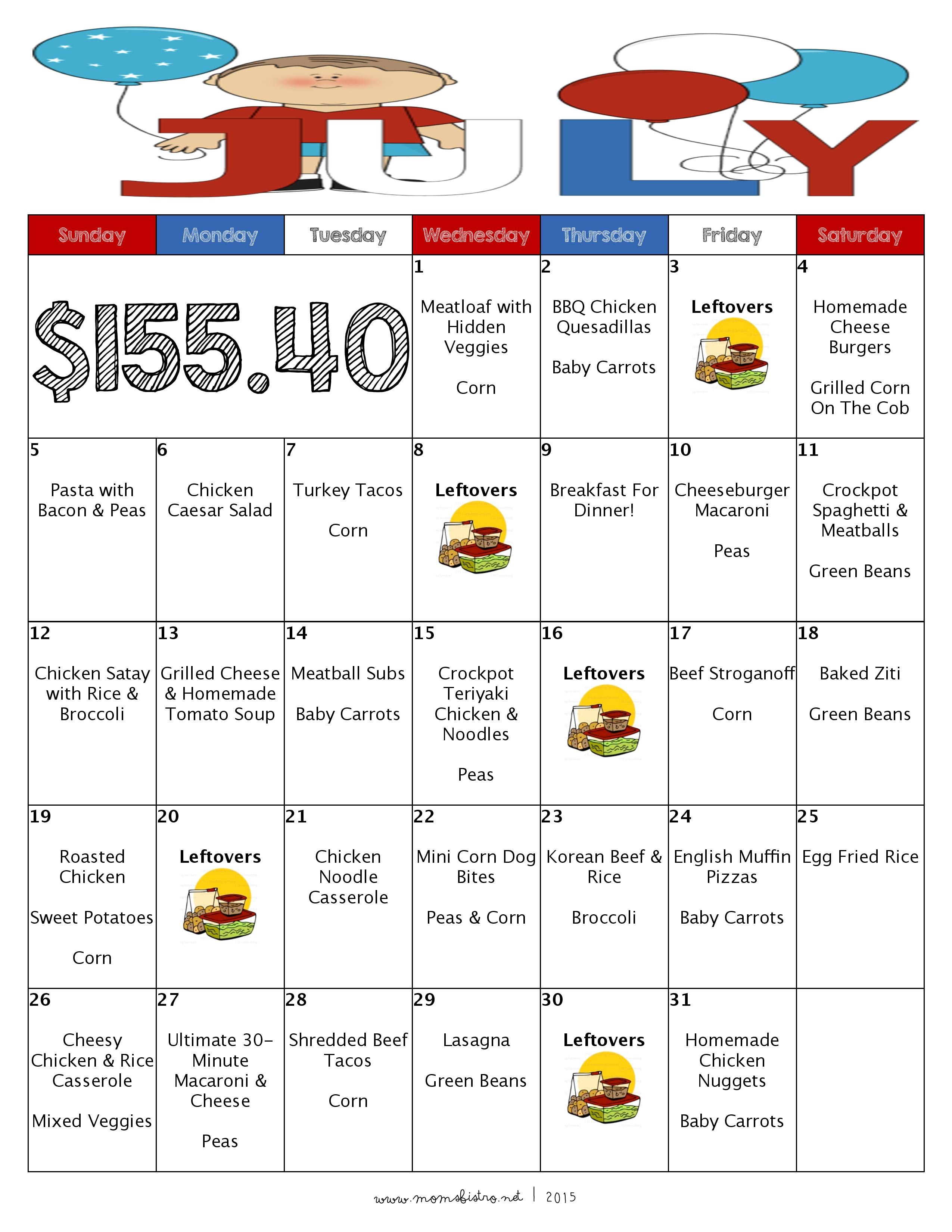 A Month Of Meals On A Budget | July 2015 Meal Plan | 31 Days of No Repeat, Kid-Friendly Dinners for $155 with FREE Printable Grocery List and Recipes