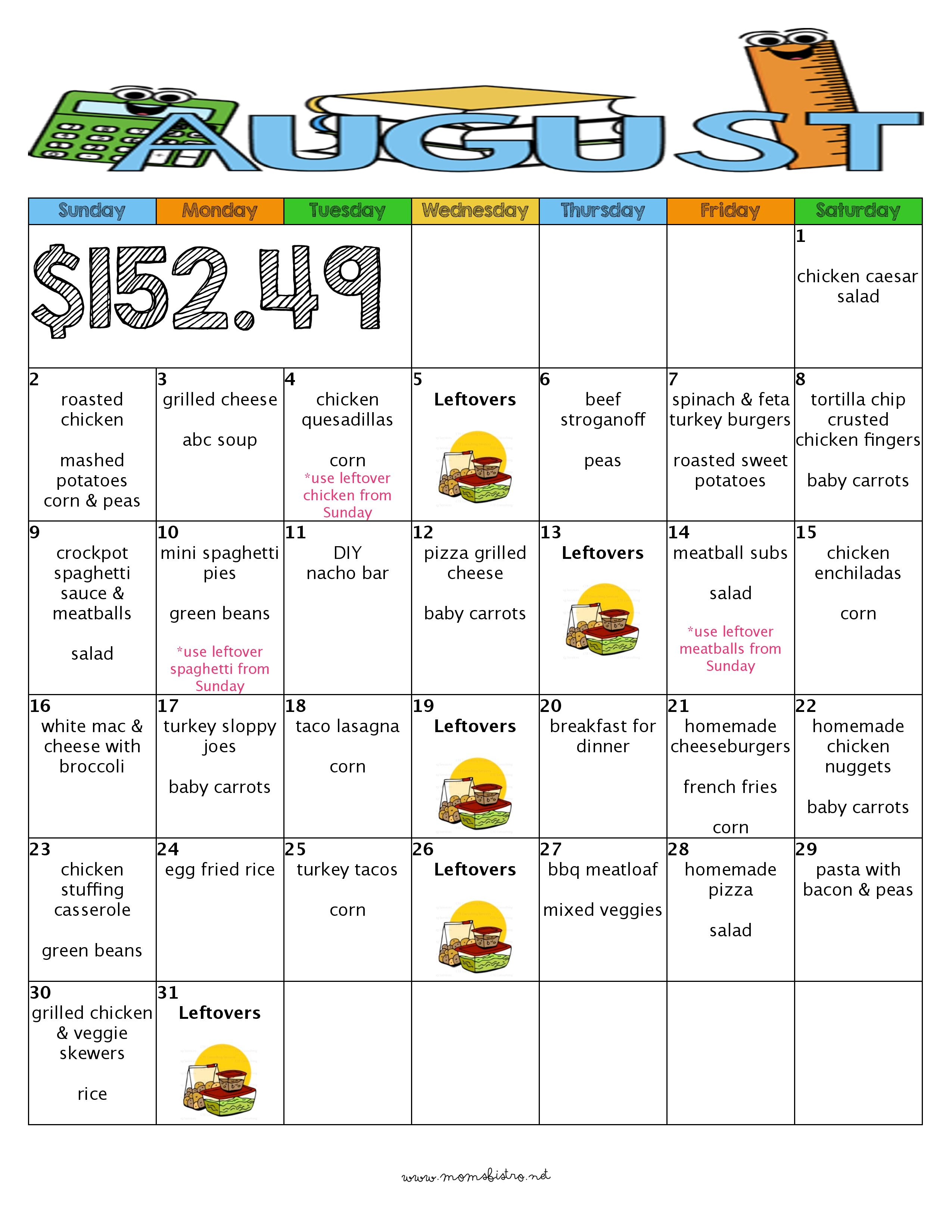 A Month of Delicious Kid-Friendly Dinners for $152 with FREE Printable Grocery List and Recipes | August 2015 Back To School Meal Plan with Grocery List and Recipes