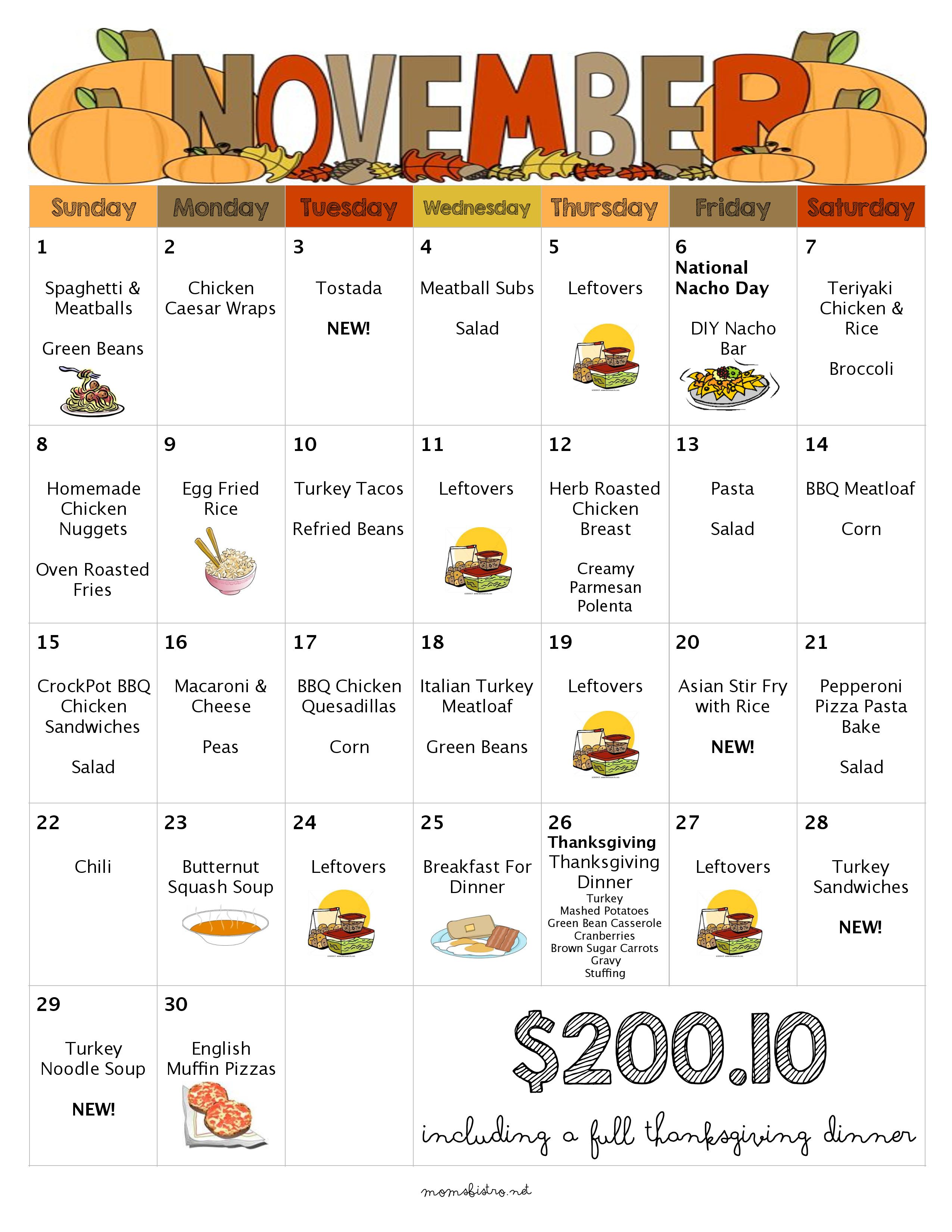 Diy Calendar Ideas For Preschool : Days of kid friendly dinners with free printable weekly