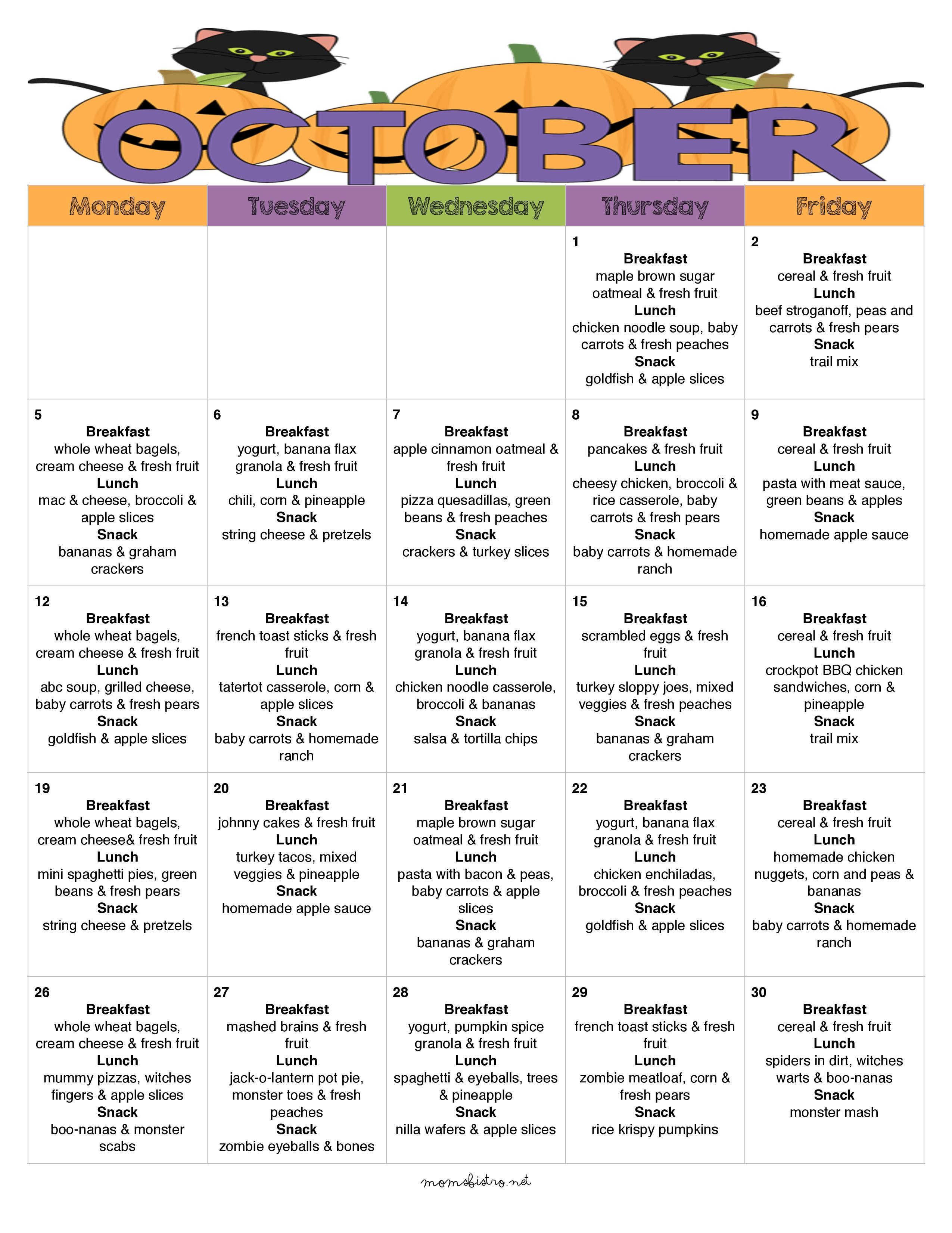 Another Great Kid-Friendly Menu for October with a Week of Halloween Inspired Meals – My October School Menu   A Month of Breakfast, Lunch and Snacks with Free Printable Recipes