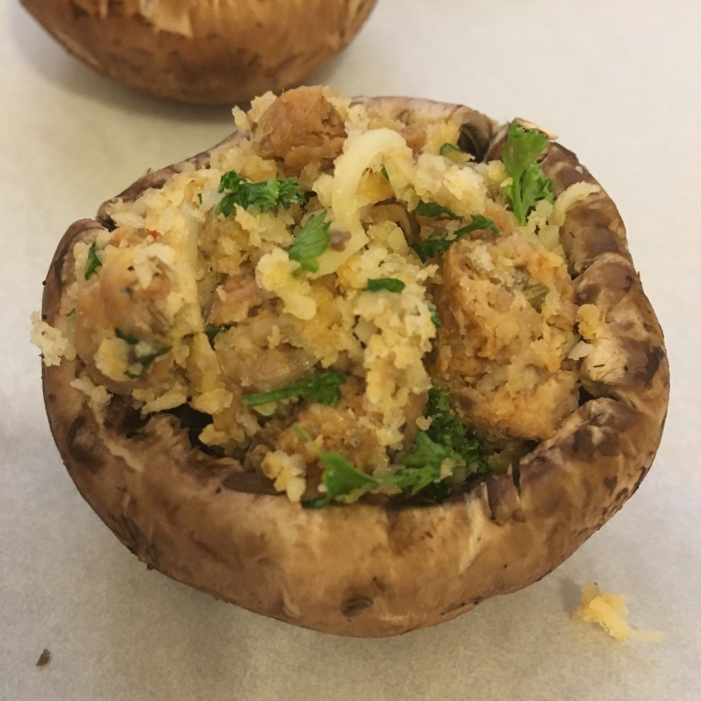 Thanksgiving stuffed mushrooms appetizer italian sausage easy quick simple make ahead mushroom cheese momsbistro
