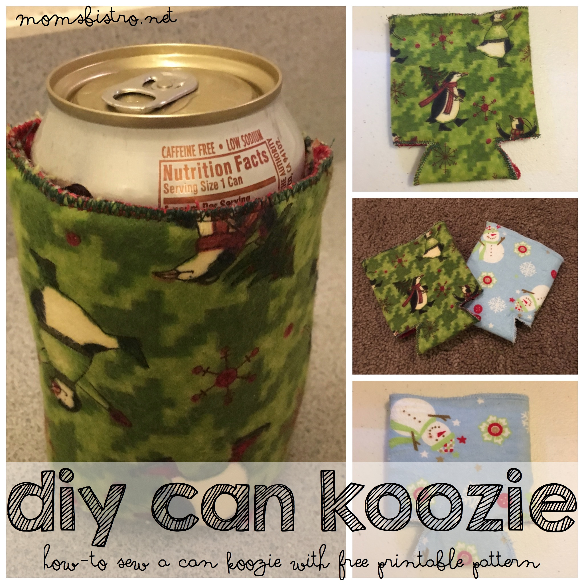 Are You Ready For The Holidays?  Learn How To Make Your Own Can Koozie With This Easy Beginners Sewing Pattern   DIY Can Koozie Tutorial with FREE Printable Pattern