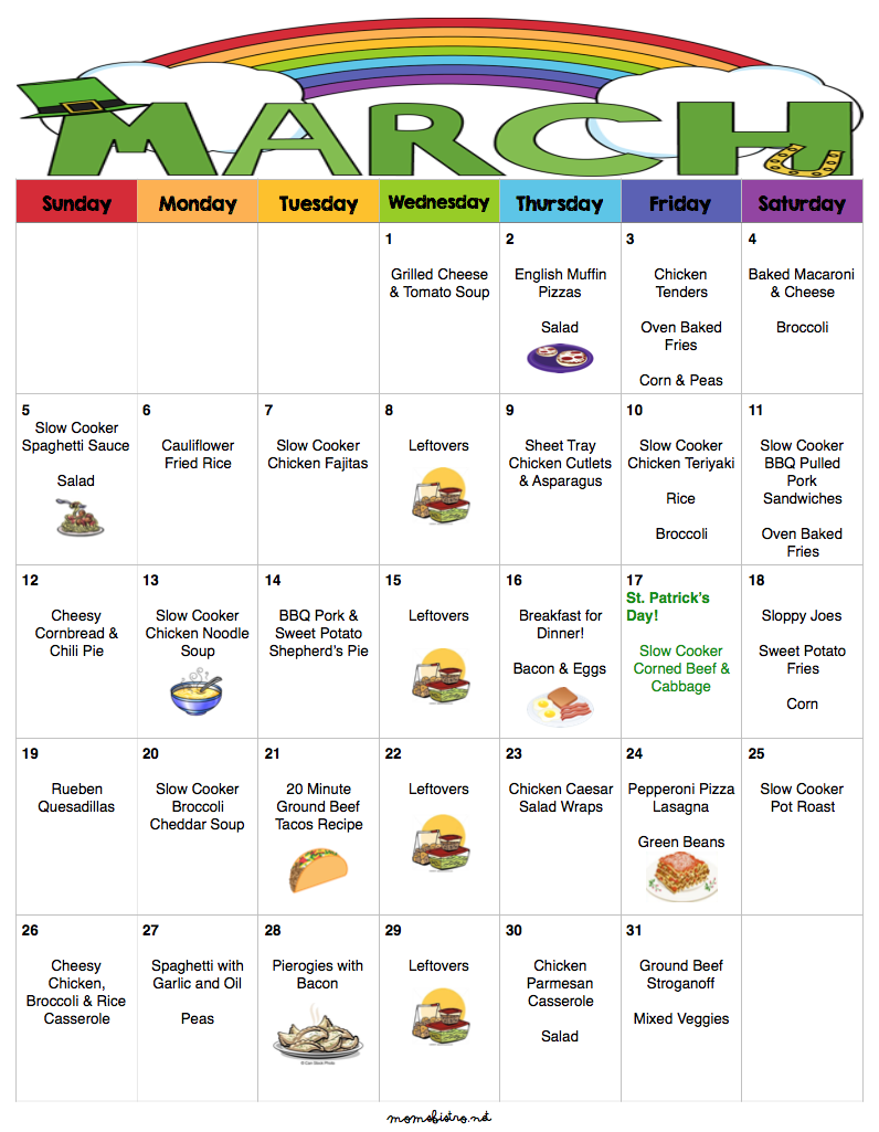 March 2017 Menu – 31 Days of Budget Friendly Dinners with Free Printable Menu, Grocery Lists and Recipes