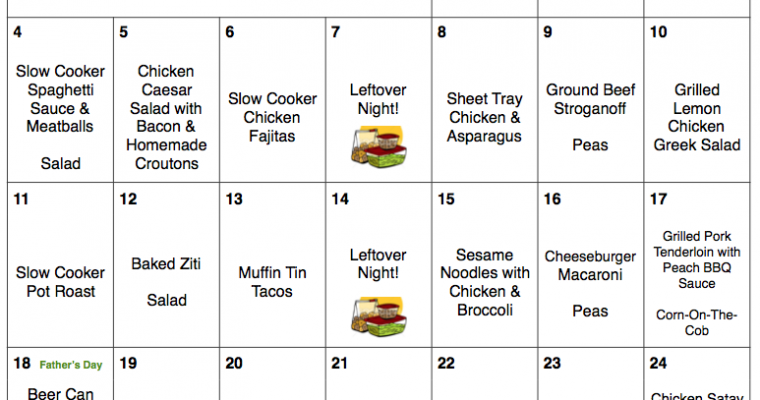 June 2017 Budget Meal Plan with Printable Grocery List and Recipes   $245 for 30 Days of Dinners