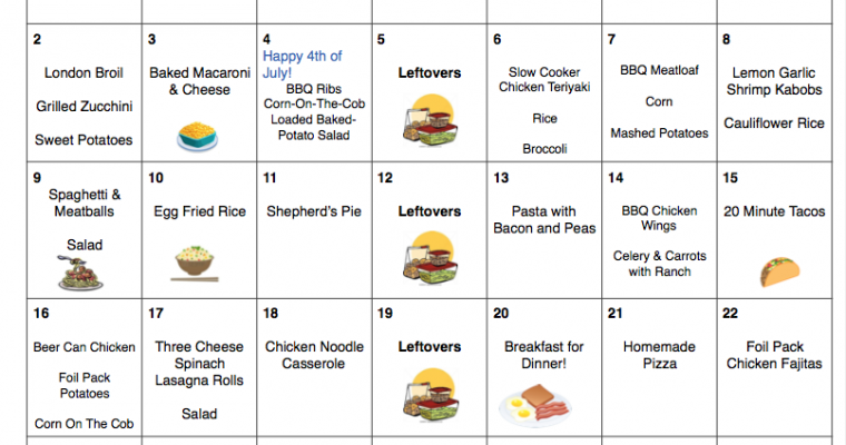 July 2017 Menu Plan   31 Days of Dinners for $245 with FREE Printable Grocery List