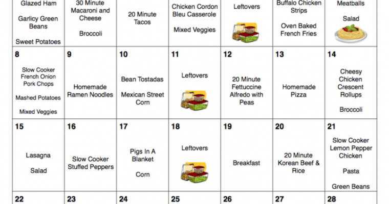 Spring Into Savings – April 2018 Meal Plan with Grocery List – 30 Days of Dinners for $248