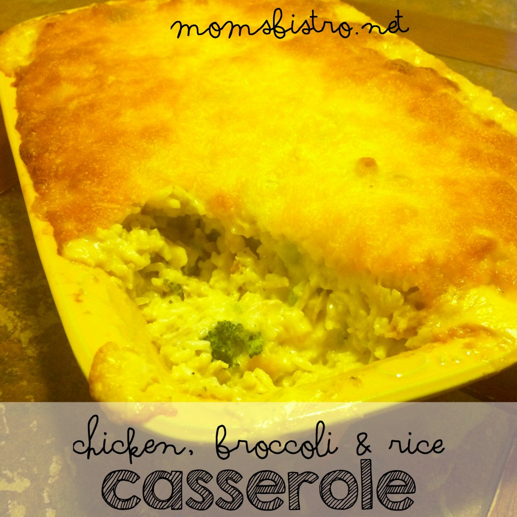 easy homemade cheesy chicken broccoli and rice casserole leftover chicken recipe moms bistro